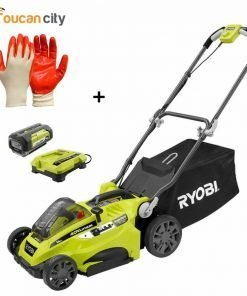 "Toucan City Ryobi 16"" 40-Volt Lithium-Ion Cordless Battery Walk Behind Push Lawn Mower with 4.0 Ah Battery and Charger Included RY40140 and Nitrile Dip Gloves(5-Pack)"