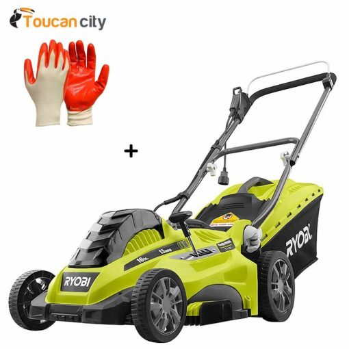"Ryobi 16"" 13 Amp Corded Electric Walk Behind Push Mower RYAC160 and Toucan City Nitrile Dip Gloves(5-Pack)"