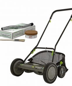 Earthwise 1819-18EW 5-Blade Reel Lawn Mower W/Grass Catcher + Sharpening Kit, 18-Inch, grey