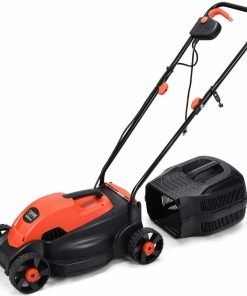 """Globe House Products GHP 8-Gallon Grass Box Capacity 12.5"""" Cutting Width 3000RPM 1200W Red Lawn Mower"""