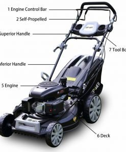 """GDPOWER 161cc 4-in-1 Self-Propelled Gas Lawn Mower with 20-Inch Deck and Recoil Start System, OHV Engine, Rear Bag/Side Discharge/Mulch/Bag, 11-inch High Wheels, Black (20"""" Black)"""