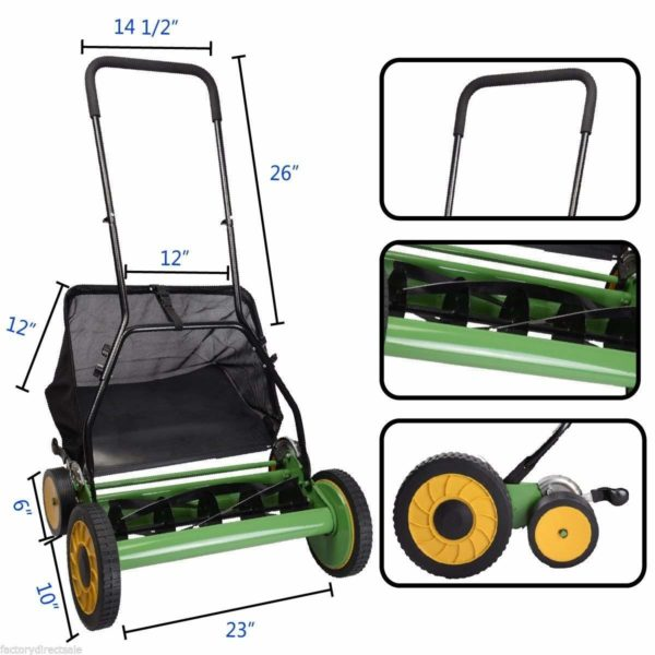 "20"" Height Adjustable Classic Hand Push Lawn Mower Reel Grass Catcher"