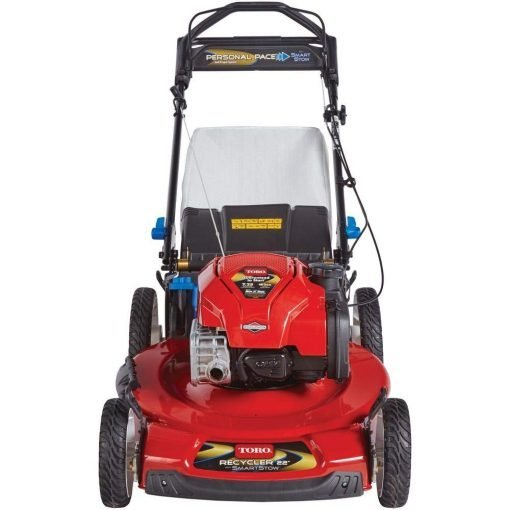Toucan City Gas Can and Toro Recycler 22 in. SmartStow Personal Pace Variable Speed High-Wheel Drive Gas Walk Behind Self Propelled Lawn Mower 20340