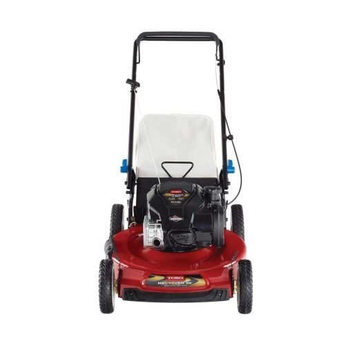 "Toucan City Toro Recycler 22"" SmartStow Briggs and Stratton High Wheel Gas Walk Behind Push Mower 21329 and Gas Can"