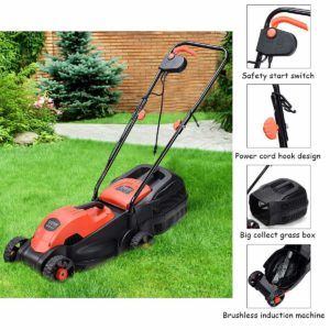 12 Amp 13-Inch Electric Push Lawn Corded Mower With Grass Bag Red