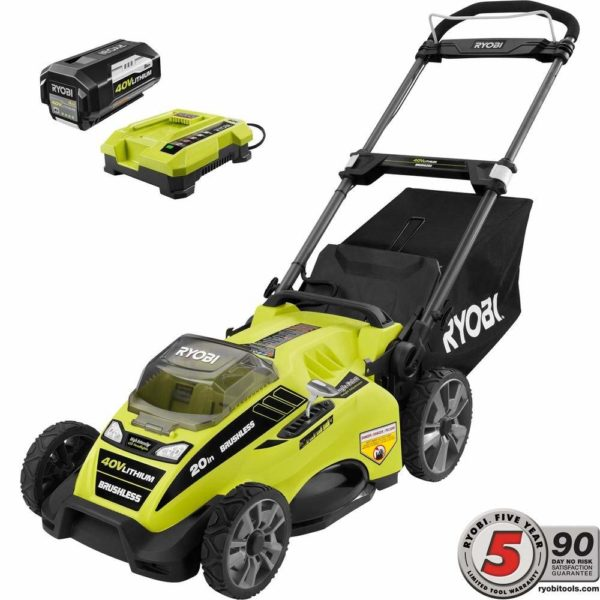 AmzHero Hassle-Free 40-Volt Brushless Lithium-Ion Cordless Battery Walk Behind Push Lawn Mower