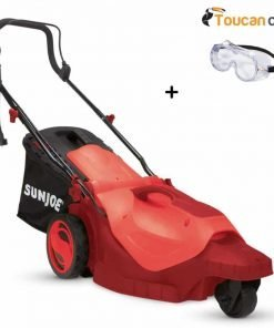 Toucan City Safety Goggles and Sun Joe 16 in. 12 Amp 360° 3-Wheel Corded Electric Walk-Behind Lawn Mower Red MJ404E-360-RED